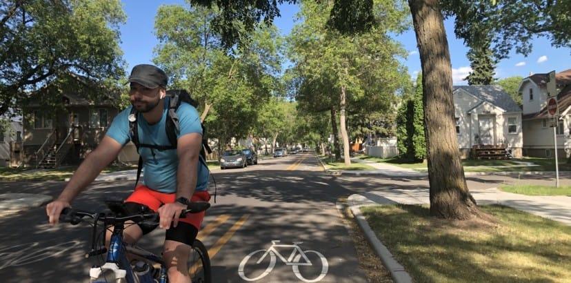 Cycling on Alberta Ave's bike lanes
